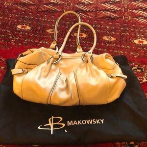 B. Makowsky Cream/Taupe Leather Hobo Bag